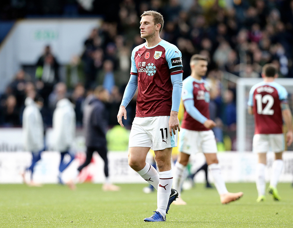 Burnley's Chris Wood looks dejected at the final whistle<br /> <br /> Photographer Rich Linley/CameraSport<br /> <br /> The Premier League - Burnley v Chelsea - Sunday 28th October 2018 - Turf Moor - Burnley<br /> <br /> World Copyright © 2018 CameraSport. All rights reserved. 43 Linden Ave. Countesthorpe. Leicester. England. LE8 5PG - Tel: +44 (0) 116 277 4147 - admin@camerasport.com - www.camerasport.com