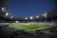 a view as Floodlights turned on at a low setting before k/o. EFL Cup, 3rd round match, West Ham Utd v Accrington Stanley at the London Stadium, Queen Elizabeth Olympic Park in London on Wednesday 21st September 2016.<br /> pic by John Patrick Fletcher, Andrew Orchard sports photography.