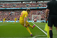 Steven Gerrard. the Liverpool captain takes his last ever corner kick in the FA Cup. The FA Cup, semi final match, Aston Villa v Liverpool at Wembley Stadium in London on Sunday 19th April 2015.<br /> pic by John Patrick Fletcher, Andrew Orchard sports photography.