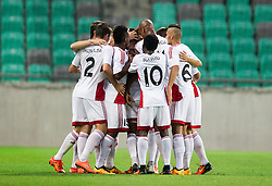 13.07.2016, SRC Stozice, Ljubljana, SLO, UEFA CL, NK Olimpija Ljubljana vs FK AS Trencin, Qualifikation, 2. Runde, Hinspiel, im Bild Players of Trencin celebrate after scoring second goal // during the UEFA Championsleague Qualifier 2nd round, 1st Leg Match between NK Olimpija Ljubljana and FK AS Trencin at the SRC Stozice in Ljubljana, Slovenia on 2016/07/13. EXPA Pictures © 2016, PhotoCredit: EXPA/ Sportida/ Vid Ponikvar<br /> <br /> *****ATTENTION - OUT of SLO, FRA*****