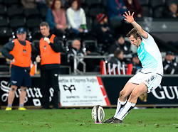 Connacht's Jack Carty kicks at goal<br /> <br /> Photographer Simon King/Replay Images<br /> <br /> Guinness PRO14 Round 19 - Ospreys v Connacht - Friday 6th April 2018 - Liberty Stadium - Swansea<br /> <br /> World Copyright © Replay Images . All rights reserved. info@replayimages.co.uk - http://replayimages.co.uk