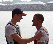 St Catharines, Ontario, CANADA 1999 World Rowing Championships. Men's single scull medalist left Gold medal NZL M1X, Rob Waddell and SUI M1X, Xeno Muller,  [Mandatory Credit Peter Spurrier Intersport Images] 1999 FISA. World Rowing Championships, St Catherines, CANADA