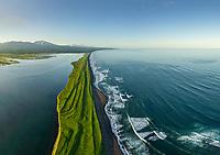 Aerial view of Kamchatka Peninsula, Eastern coast, Bering sea, Russia