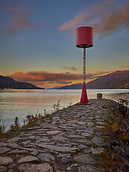 This red beacon marks the entrance to the Caledonean canal from Loch Ness at Fort Augustus