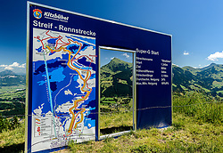 THEMENBILD - Der Start des Hahnenkamm Super-G mit dem Kitzbüheler Horn im Hintergrund, aufgenommen am 26. Juni 2017, Kitzbühel, Österreich // The start of the Hahnenkamm Super-G with the Kitzbüheler Horn in the background at the Streif, Kitzbühel, Austria on 2017/06/26. EXPA Pictures © 2017, PhotoCredit: EXPA/ Stefan Adelsberger