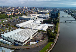 Glasgow, Scotland, UK. 20th September 2021. Aerial views of the site of the COP26 international climate change conference and summit to be held in Glasgow during November 2021. The site is beside the River Clyde near Pacific Quay and large temporary structures can be seen being erected to house the tens of thousands of delegates, heads of state and journalists who will attend the two week event.  Iain Masterton/Alamy Live News.