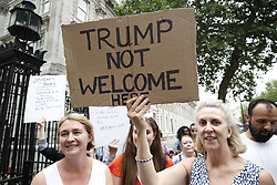 © Licensed to London News Pictures. 12/07/2018. London, UK. Protestors gather in Whitehall outside Downing Street as President Trump begins his UK visit. Photo credit: Peter Macdiarmid/LNP