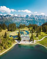 Aerial View of Lakeside Swiss Hotel in Flumserberg, Switzerland