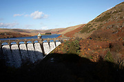 Landscape view of the Pen y garreg dam on the Penygarreg Reservoir in the Elan Valley, Powys, Wales, United Kingdom. The Elan Valley Reservoirs are a chain of man-made lakes created from damming the Elan and Claerwen rivers within the Elan Valley in Mid Wales. The reservoirs provide clean drinking water for the West Midlands of England.