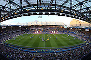 both teams walk onto the pitch from the tunnel before k/o. EFL Cup 2nd round match, Chelsea v Bristol Rovers at Stamford Bridge in London on Tuesday 23rd August 2016.<br /> pic by John Patrick Fletcher, Andrew Orchard sports photography.
