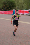 Moroccan para-athlete, Abdelhadi El Harti,  running at The Mall during the Virgin London Marathon on 28th April 2019 in London in the United Kingdom. Now in it's 39th year, the London Marathon is a large sporting event with over 40,000 runners expected to take part.