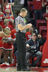 02 February 2013:  referee Jeff Malham during an NCAA Missouri Valley Conference mens basketball game where the Salukis of Southern Illinois lost to the Illinois State Redbirds for Retro-Night 83-47 in Redbird Arena, Normal IL