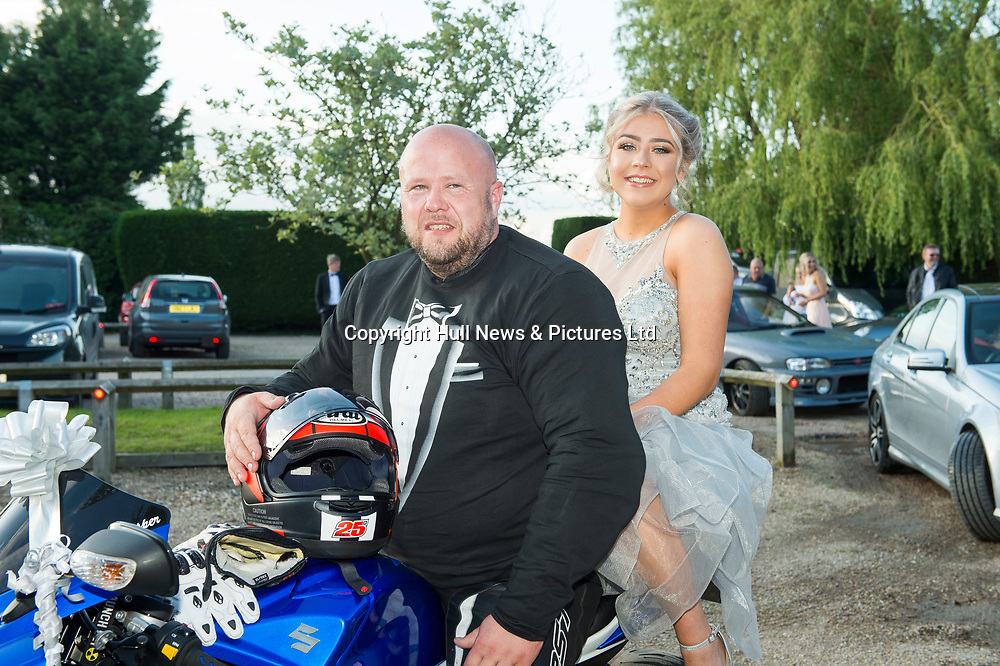 20 June 2019: Cleethorpes Academy Year 11 Prom at Brackenborough Hotel near Louth.<br /> Arriving by motorbike Ashleigh Lacey with dad Phil Lacey. <br /> Picture: Sean Spencer/Hull News & Pictures Ltd<br /> 01482 210267/07976 433960<br /> www.hullnews.co.uk         sean@hullnews.co.uk