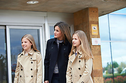 Queen Letizia of Spain, King Felipe of Spain, Crown Princess Leonor, Princess Sofia, Queen Sofia of Spain visited King Juan Carlos of Spain after his knee surgery at La Moraleja Hospital on April 8, 2018 in Madrid, Spain. 08 Apr 2018 Pictured: Princess Sofia, Queen Letizia of Spain, Crown Princess Leonor. Photo credit: MEGA TheMegaAgency.com +1 888 505 6342