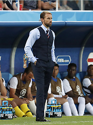 (l-r) coach Gareth Southgate of England during the 2018 FIFA World Cup Russia group G match between England and Belgium at the Kalingrad stadium on June 28, 2018 in Kaliningrad, Russia