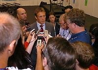 Photo: Richard Lane.<br />Australia v England. Rugby World Cup Final, at the Telstra Stadium, Sydney. RWC 2003. 22/11/2003. <br />Jonny Wilkinson faces the post match media.