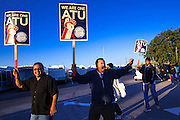 12 MARCH 2012 - PHOENIX, AZ:   RICO RODRIGUEZ, who has been a bus driver for 12 years, chants in front of the Veolia Transportation bus barns in Phoenix, AZ, Monday. Nearly 900 bus drivers from Amalgamated Transit Union Local 1433  are on strike against Veolia Transportation which is contracted to provide bus service for Valley Metro, the bus service that spans the Phoenix metropolitan area. The routes affected by the strike are in Phoenix and the suburbs of Tempe and Glendale. According to the union, the strike was called because of Veolia's conduct during negotiations, which have lasted more than two years. The union has filed Unfair Labor Practices charges against Veolia with The National Labor Relations Board and the NLRB is taking Veolia before an Administrative Law Judge on April 3, 2012 to answer the charges.      PHOTO BY JACK KURTZ