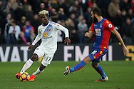 Didier Ndong of Sunderland (L) in action with Joe Ledley of Crystal Palace (R).Premier League match, Crystal Palace v Sunderland at Selhurst Park in London on Saturday 4th February 2017. pic by Steffan Bowen, Andrew Orchard sports photography.