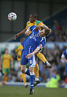 Photo: Rich Eaton.<br /> <br /> Cardiff City v Norwich City. Coca Cola Championship. 10/03/2007. Dion Dublin, top of Norwich and Glenn Loovens of Cardiff