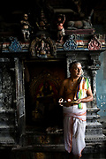 A priest by a shrine at the Murugan temple, Swamimalai, India