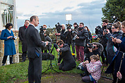 UKIP Leader Henry Bolton announces from outside his Folkestone home that he will not be resigning as party leader and has said that UKIP's National Executive Committee that backed a vote of no confidence in him on 22nd January 2018 in Folkestone, England, United Kingdom.