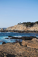 Hiker Enjoying Sea Lion Point Trail Coastal Seascape, Point Lobos State Reserve, California