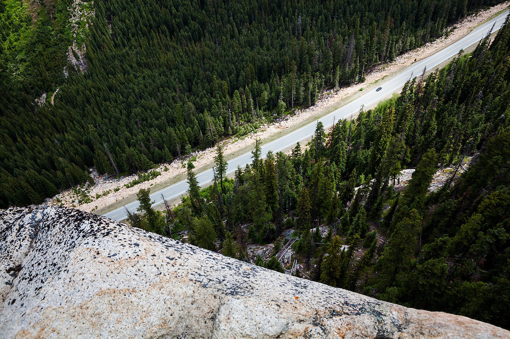 View of Highway 20 from the Washington Pass Overlook, North Cascades Scenic Highway Corridor, Washington.