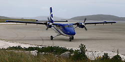 Barra Airport is a short-runway airport situated in the wide shallow bay of Traigh Mhòr at the north tip of the island of Barra in the Outer Hebrides, Scotland. Barra is now the only beach airport anywhere in the world to be used for scheduled airline services. Loganair Twin Otter starting engines. (c) Stephen Lawson | Edinburgh Elite media