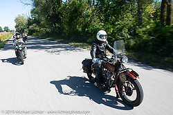 Shane Masters riding his 1925 Indian Chief in the Motorcycle Cannonball coast to coast vintage run. Stage 5 (229 miles) from Bowling Green, OH to Bourbonnais, IL. Wednesday September 12, 2018. Photography ©2018 Michael Lichter.