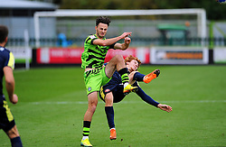 Aaron Collins of Forest Green Rovers collides with Arthur Read of Stevenage- Mandatory by-line: Nizaam Jones/JMP - 17/10/2020 - FOOTBALL - innocent New Lawn Stadium - Nailsworth, England - Forest Green Rovers v Stevenage - Sky Bet League Two