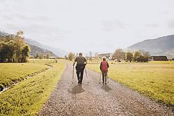 THEMENBILD - ein älteres Paar beim Nordic Walking im Gegenlicht in der Natur, aufgenommen am 02. Mai 2020 in Kaprun, Österreich // an elderly couple doing Nordic Walking against the sunlight in nature, Kaprun, Austria on 2020/05/02. EXPA Pictures © 2020, PhotoCredit: EXPA/ JFK