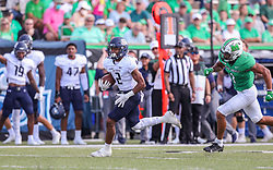 Oct 9, 2021; Huntington, West Virginia, USA; Old Dominion Monarchs running back Blake Watson (2) runs the ball during the first quarter against the Marshall Thundering Herd at Joan C. Edwards Stadium. Mandatory Credit: Ben Queen-USA TODAY Sports