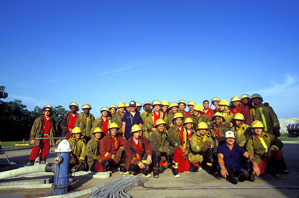 Stock photo of a group of Houston Fire Department trainees and new firemen