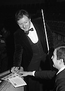 1980-05-01.1st May 1980.01-05-1980.05-01-80..Photographed at Goffs, Kill, Co Kildare..With a snooker cue in one hand an a pen in the other:..Denis Taylor at the Benson and Hedges Irish Masters Snooker Competition.