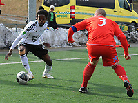 Fotball 2.Divisjon Kolstad - Rosenborg 2<br /> Parken, Huseby, Trondheim  26 april 2010<br /> <br /> Mushaga Bakenga, Rosenborg med ballen. Til høyre : Eirik Breen, Kolstad<br /> <br /> Foto : Arve Johnsen, Digitalsport