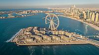 Aerial view of Bluewaters island in Dubai, U.A.E.