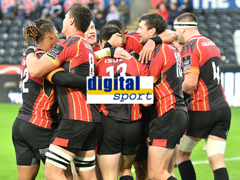 Rugby Union - 2019 / 2020 Guinness Pro14 - Ospreys vs. Southern Kings<br /> <br /> Souther kings celebrate after Erick Cronje,  of Southern Kings scores a try  from the restart, at The Liberty Stadium.<br /> <br /> COLORSPORT/WINSTON BYNORTH