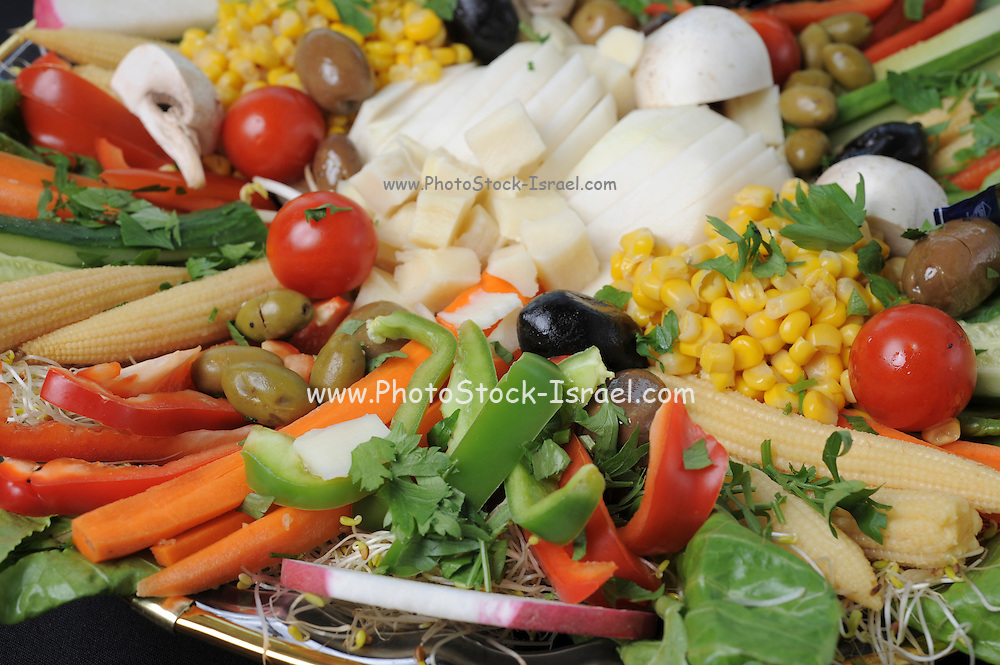 Freshly cut vegetables for a salad