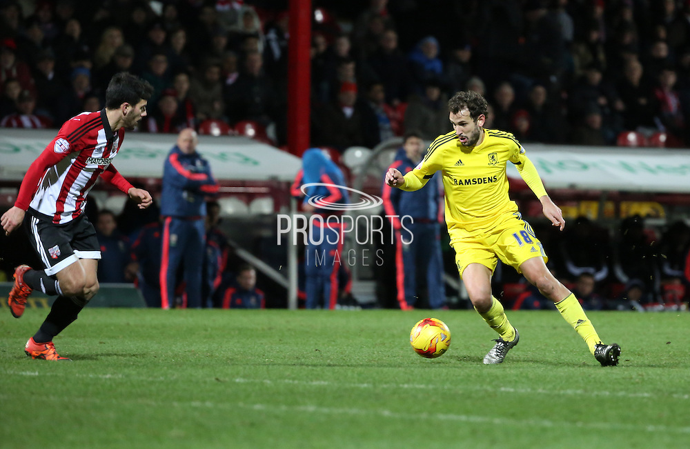 Middlesbrough striker Christian Stuani attacking during the Sky Bet Championship match between Brentford and Middlesbrough at Griffin Park, London, England on 12 January 2016. Photo by Matthew Redman.
