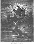 The Prayer of Jacob (or Jacob Prays for Protection) Genesis 32:11 From the book 'Bible Gallery' Illustrated by Gustave Dore with Memoir of Doré and Descriptive Letter-press by Talbot W. Chambers D.D. Published by Cassell & Company Limited in London and simultaneously by Mame in Tours, France in 1866