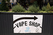 Sign for a vape shop on 3rd August 2021 in Birmingham, United Kingdom. Vaping is often seen as a safe or safer alternative to smoking. It is also relatively new to the market, only hitting the mainstream over the past decade or so.