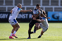 Rugby Union - 2020 / 2021 Gallagher Premiership - Round 13 - Newcastle Falcons vs Bath - Kingston Park<br /> <br /> George Wacokecoke of Newcastle Falcons is tackled by Max Clark of Bath<br /> <br /> Credit : COLORSPORT/BRUCE WHITE