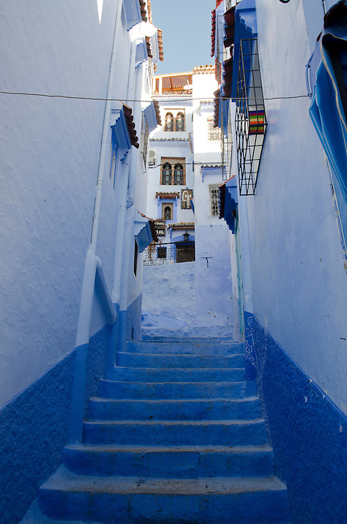 Traditional blue painted buildings in Chefchaouen, Morocco