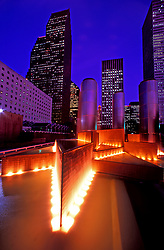 Night view of the Wortham Fountain in Tranquility Park in downtown Houston, Texas.