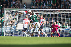 Falkirk's defence clears in the dieing mins.<br /> Hibernian 0 v 1 Falkirk, William Hill Scottish Cup semi-final, played 18/4/2015 at Hamden Park, Glasgow.