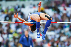London, August 10 2017 . Tatiána Goúsin, Greece, in the Women's high jump qualifying on day seven of the IAAF London 2017 world Championships at the London Stadium. © Paul Davey.