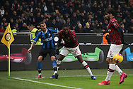 Matias Vecino of Inter passes the ball as Rafael Leao and Lucas Paqueta of AC Milan close in during the Serie A match at Giuseppe Meazza, Milan. Picture date: 9th February 2020. Picture credit should read: Jonathan Moscrop/Sportimage