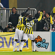 Fenerbahce's Mamadou NIANG (L) celebrate his goal with team mate during their Turkish superleague soccer match Fenerbahce between Kayserispor at the Sukru Saracaoglu stadium in Istanbul Turkey on Monday 14 February 2011. Photo by TURKPIX