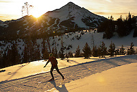 A young man nordic skate skis at Lone Mountain Ranch in Big Sky, Montana.