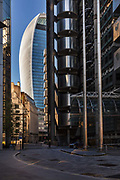 London's Walkie Talkie Building viewed from Lloyds Building during the coronavirus pandemic on the 2nd May 2020 in London, United Kingdom. The Lloyds building is the home of the insurance institution Lloyds of London.